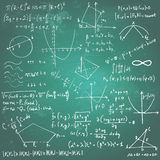 Mathematical formulas and drawings on a chalkboard Royalty Free Stock Photos