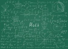 Mathematical formulas drawn by hand on a green chalkboard for the background. Vector illustration. royalty free illustration