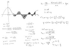 Mathematical formulas and graphs sketched royalty free stock images