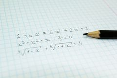 Mathematical formulas in a notebook for lectures stock photography