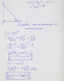 Mathematical formulas. Squared paper with mathematical formulas Royalty Free Stock Photo