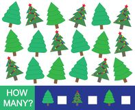 Mathematical game for children. How many Christmas tree fir. Vector illustration Royalty Free Stock Photos