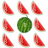 Mathematical games for children. Study the fractions numbers, example with watermelons. Mathematical games for children. Study the fractions numbers, example vector illustration
