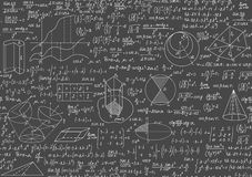 Mathematical grey educational seamless texture with handwritten school formulas and equations Royalty Free Stock Photo