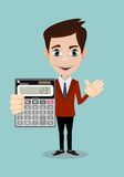 Mathematical Man Holding Calculator Royalty Free Stock Image