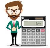 Mathematical Man Holding Calculator vector illustration