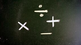 Mathematical operations of addition, subtraction, multiplication and division in white chalk on a green board.