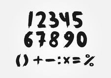 Mathematical set of numbers drawn a rough brush. Stock Photography