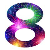 Number of colorful firework, eight. Mathematical sign, number eight, stylized colorful holiday firework with stars and flares, element for web design. Eps10 Royalty Free Stock Image