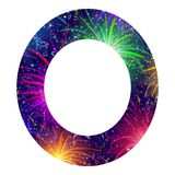 Number of colorful firework, zero. Mathematical sign, number zero, stylized colorful holiday firework with stars and flares, element for web design. Eps10 Stock Image