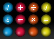 Mathematical signs. In question and weights over black background Stock Photography