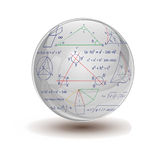 Mathematical sphere. Glass sphere with mathematical formulas. Illustration contains transparency and blending effects Stock Photography