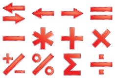 Mathematical symbols. Vector illustration. Isolated on white background Royalty Free Stock Photo
