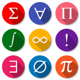 Mathematical Symbols. Set of colorful flat math icons with long shadows. Vector illustration Stock Image