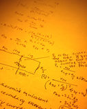 Mathematical text. Close up of mathematical background Stock Images