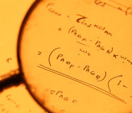 Mathematical text. Close up of mathematical background Stock Photography