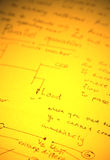 Mathematical text. Close up of mathematical background Stock Image