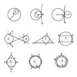 Mathematical vector with geometrical figures and plots Stock Images