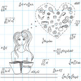 Mathematical vector illustration with pretty young girl dreaming about fashion things at math lesson Stock Photography