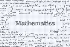 Mathematical vector pattern background in notebook. Mathematical vector pattern background with formulas, equations and figures, handwritten in a notebook Stock Photography
