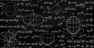 Mathematical vector seamless endless texture with formulas, figures and equations. Handwritten with chalk on blackboard Royalty Free Stock Images
