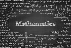 Mathematical vector seamless pattern on blackboard Stock Photos