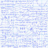 Mathematical vector seamless pattern with geometrical figures, plots and equations, handwritten on the grid copybook paper. Endless math texture Royalty Free Stock Photography