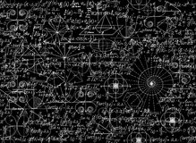 Mathematical vector seamless pattern with mathematical figures and equations Stock Image