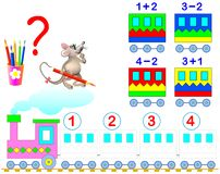 Mathematical worksheet for children on addition and subtraction. Solve examples and paint the train wagons in relevant colors. Royalty Free Stock Images