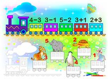 Mathematical worksheet for children on addition and subtraction. Solve examples and paint the wagons in relevant colors. Stock Photos