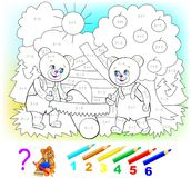 Mathematical worksheet for young children on addition and subtraction. Royalty Free Stock Image