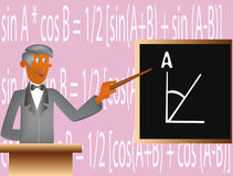 Mathematician nearly board. Tutor teach students basis of the mathematics Royalty Free Stock Images