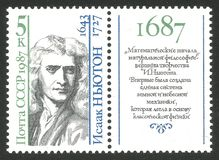 Mathematician and physicist Isaac Newton. USSR - CIRCA 1987: Stamp printed by USSR, Multicolor memorable edition photogravure and metallography printing on the Stock Photos