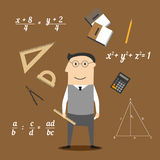 Mathematician or teacher and education icons. Mathematician profession concept design with teacher in glasses encircled by formulas and calculator, rulers and Stock Images