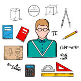 Mathematician teacher with education icons. Mathematician profession with teacher in glasses encircled by formulas, calculator and rulers, compasses and pencil Royalty Free Stock Images