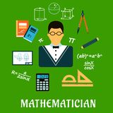Mathematician or teacher with education objects Stock Image