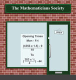 Mathematicians Society. The Mathematicians Society showing opening times 9 to 5 Stock Illustration