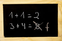 Mathematics. An error in the calculation on a chalkboard Royalty Free Stock Photo