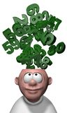 Mathematics. Bunch of numbers over cartoon mans head - 3d illustration Royalty Free Stock Images