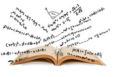 Mathematics. Opened book with mathematics equations Royalty Free Stock Image