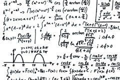 Mathematics. Math equations written on a sheet of paper stock illustration