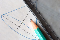 Mathematics. Graph and calculations - with pencil and ruler. The focus is on the pencil tip Stock Photo