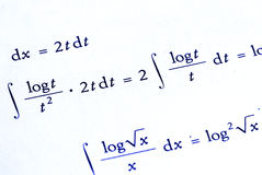 Mathematics background. Mathematics calculations in blue color - for background use Stock Photos