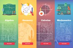 Mathematics banners. Flat vector education concept of math, algebra, calculus.  Stock Images