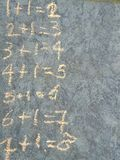 Mathematics on chalkboard. Addition sums in rows on grey chalkboard royalty free stock images