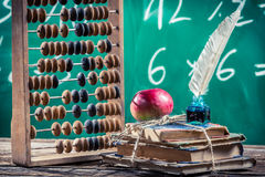 Mathematics classes in primary school. Retro style royalty free stock images