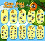 Mathematics Counting Bees 1 to 10. Illustration stock illustration