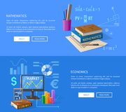 Mathematics and Economics Lessons Informative Page Royalty Free Stock Image