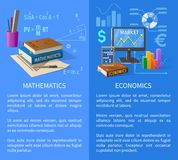 Mathematics and Economics Subjects Info Poster. Mathematics and Economics informative poster with thick textbooks, statistical charts, graphic on screen and Royalty Free Stock Photo