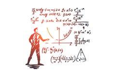 Mathematics, education, science, school, study concept. Hand drawn isolated vector. Mathematics, education, science, school, study concept. Hand drawn scientist royalty free illustration